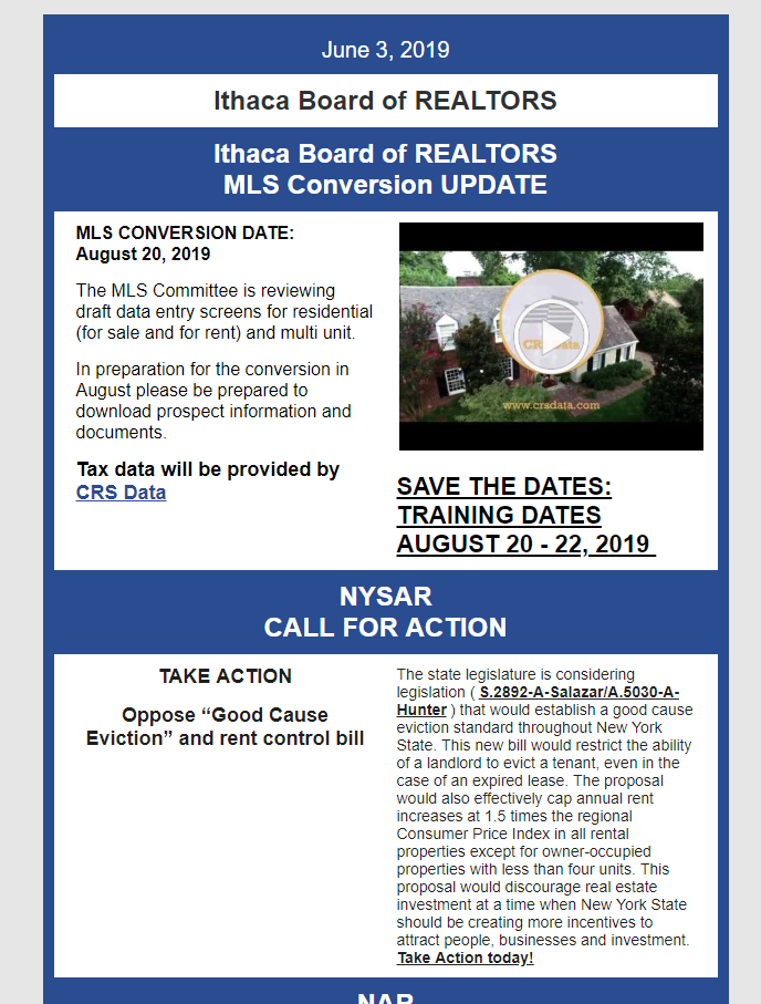 Ithaca Board of REALTORS news for June 3, 2019